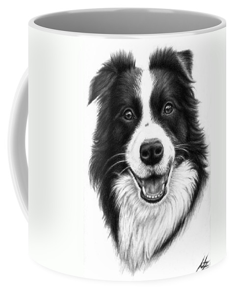 Dog Coffee Mug featuring the drawing Border Collie by Nicole Zeug