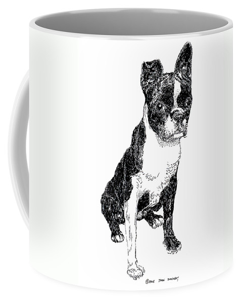 Boston Bull Terrier Coffee Mug featuring the drawing Boston Bull Terrier by Jack Pumphrey