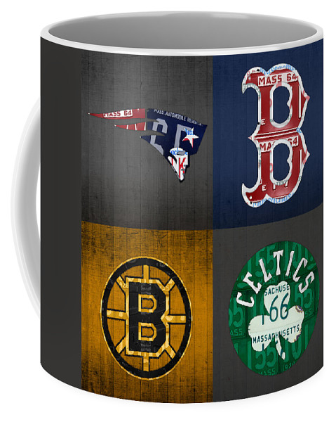 Boston Coffee Mug featuring the mixed media Boston Sports Fan Recycled Vintage Massachusetts License Plate Art Patriots Red Sox Bruins Celtics by Design Turnpike