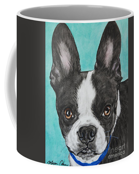 Boston Terrier Coffee Mug featuring the painting Boston Terrier by Megan Cohen