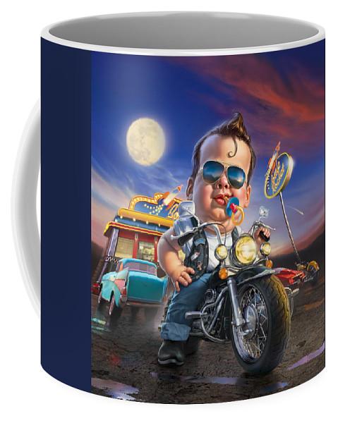 Baby Coffee Mug featuring the digital art Bottle Rocket Diner by Mark Fredrickson