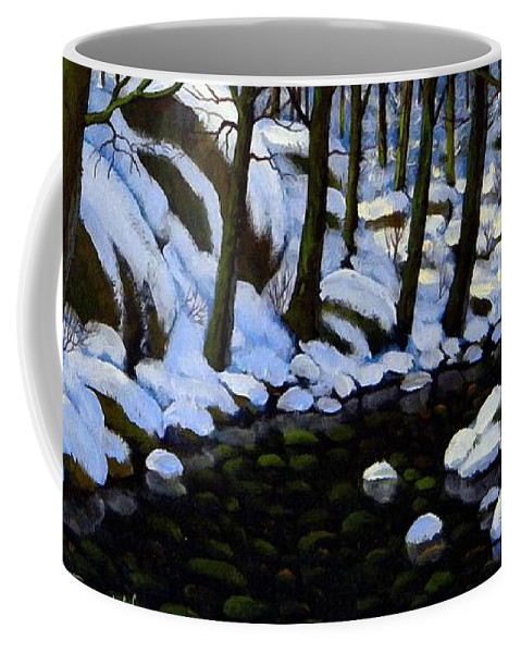 Winter Coffee Mug featuring the painting Boulder Brook In Winter by Frank Wilson