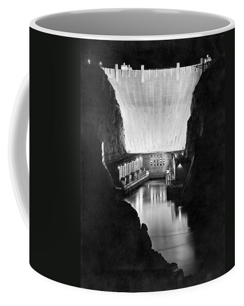 10th Anniversary Coffee Mug featuring the photograph Boulder Dam by Underwood Archives