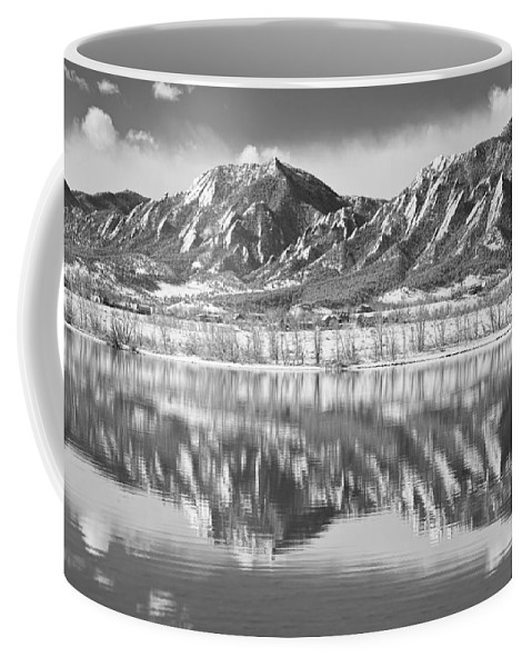 Winter Coffee Mug featuring the photograph Boulder Reservoir Flatirons Reflections Boulder Co Bw by James BO Insogna