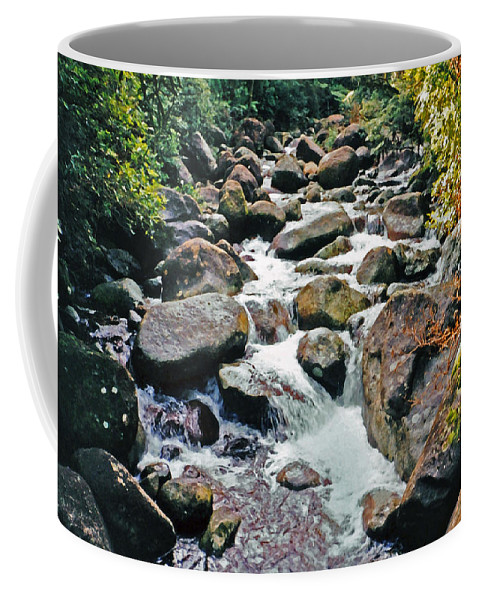 River With Rocks Coffee Mug featuring the photograph Boulder Stream by Lydia Holly
