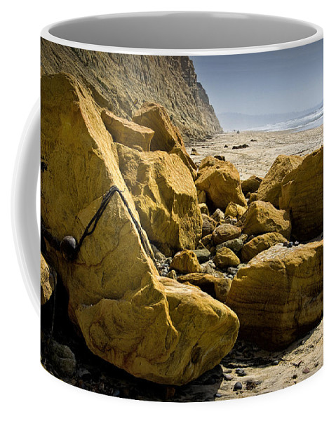 Art Coffee Mug featuring the photograph Boulders On The Beach At Torrey Pines State Beach by Randall Nyhof