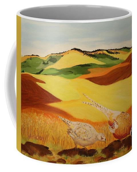 Palouse Coffee Mug featuring the painting Bountiful Palouse by Sarah Hamilton