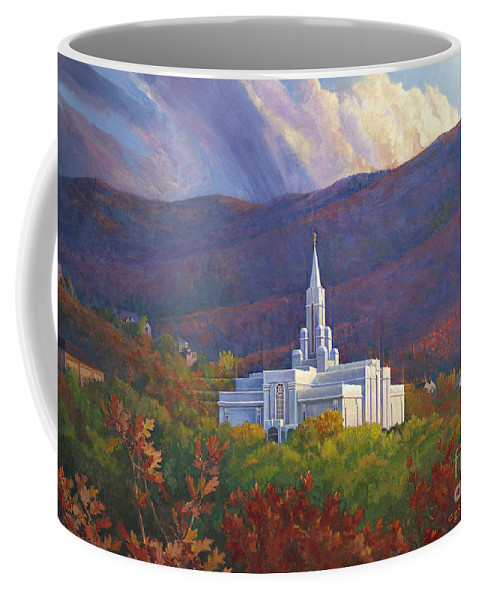 Bountiful Temple Coffee Mug featuring the painting Bountiful Temple In The Mountains by Rob Corsetti