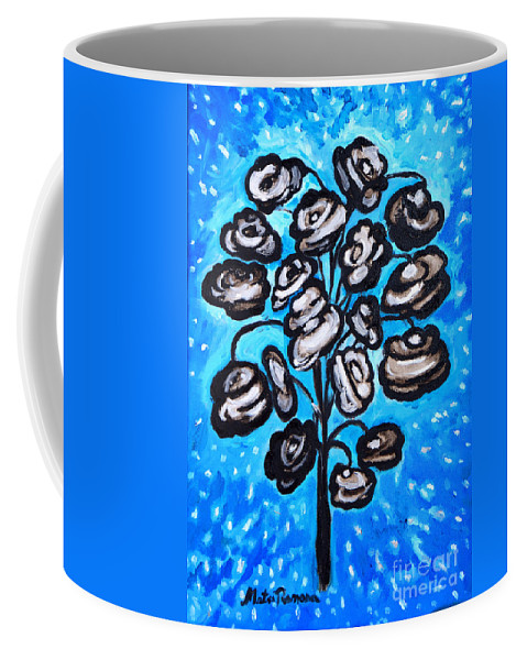 Blue Coffee Mug featuring the painting Bouquet Of White Poppies by Ramona Matei