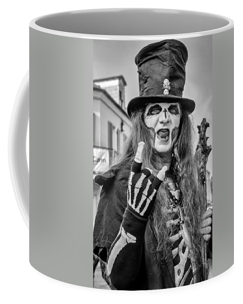 French Quarter Coffee Mug featuring the photograph Bourbon Street Denizon Bw by Steve Harrington