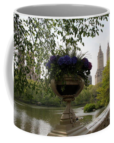 Bow Bridge Coffee Mug featuring the photograph Bow Bridge Flowerpot And San Remo Nyc by Christiane Schulze Art And Photography