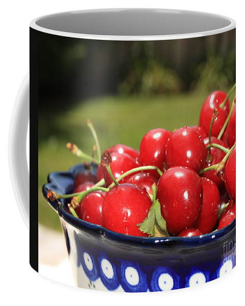 Cherries Coffee Mug featuring the photograph Bowl Of Cherries In The Garden by Carol Groenen
