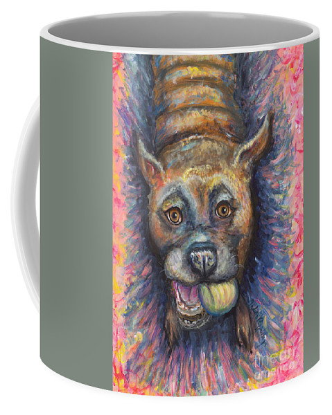Bulldog Coffee Mug featuring the painting Boxer Buddy by Nadine Rippelmeyer