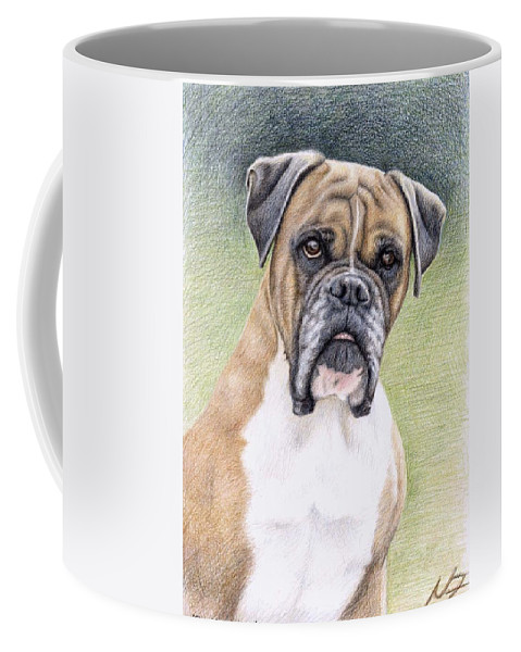 Dog Coffee Mug featuring the drawing Boxer Portrait by Nicole Zeug