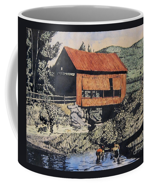 T-shirt Coffee Mug featuring the mixed media Boys And Covered Bridge by Joseph Juvenal