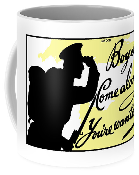 Wwi Coffee Mug featuring the painting Boys Come Along You're Wanted by War Is Hell Store