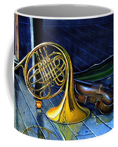 Musical Instrument Still Life Coffee Mug featuring the painting Brass And Strings by Hanne Lore Koehler