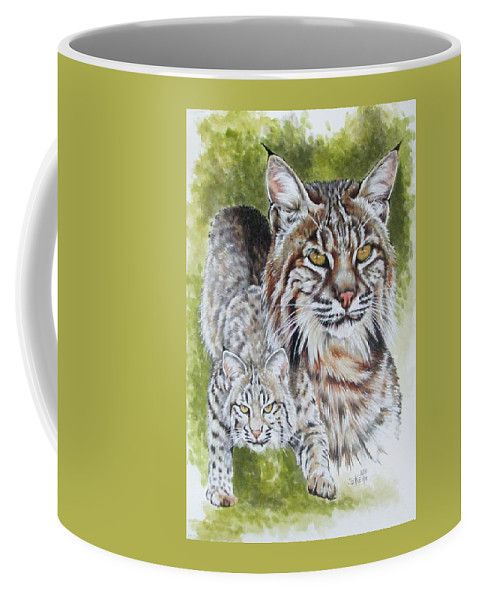 Small Cat Coffee Mug featuring the mixed media Brassy by Barbara Keith