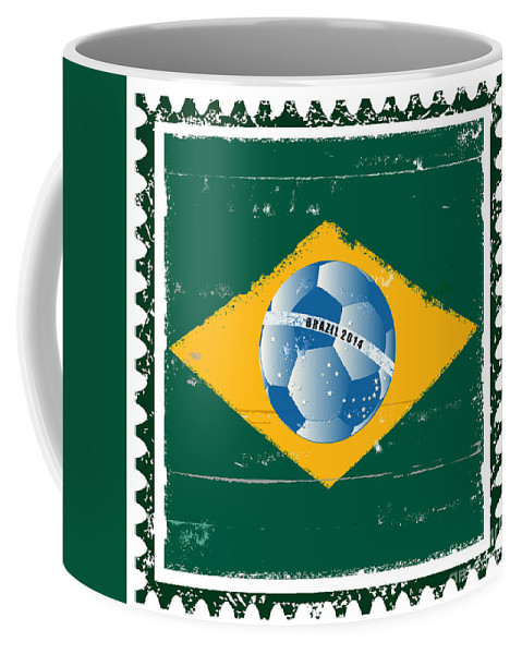 Vector Coffee Mug featuring the digital art Brazil Flag Like Stamp In Grunge Style by Michal Boubin
