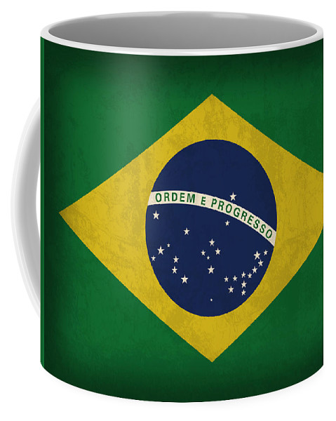 Brazil Flag Coffee Mug featuring the mixed media Brazil Flag Vintage Distressed Finish by Design Turnpike