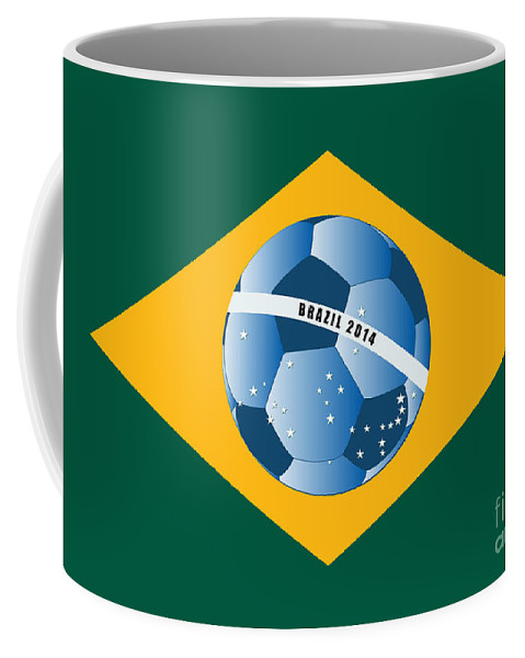 Flag Coffee Mug featuring the digital art Brazil Flag With Ball by Michal Boubin