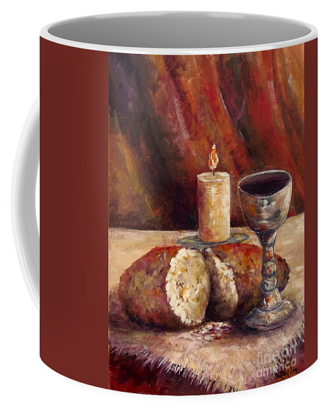 Bread And Wine Coffee Mug featuring the painting Bread And Wine by Lou Ann Bagnall
