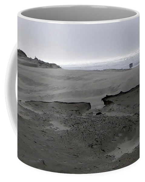 Blowing Sand Formation With Ocean Background Coffee Mug featuring the photograph Break In The Storm by Susan Garren