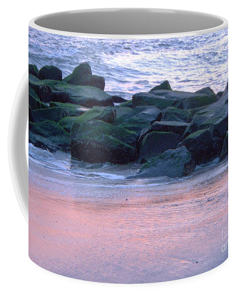 Breakwater Coffee Mug featuring the photograph Breakwater Rocks At Sunset Beach Cape May by Eric Schiabor