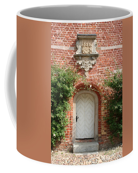 Brick Coffee Mug featuring the photograph Brickcastle And White Door by Christiane Schulze Art And Photography