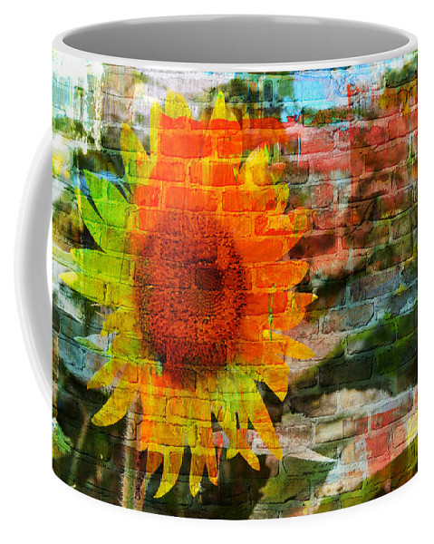Sunflowers Coffee Mug featuring the photograph Bricks And Sunflowers by Alice Gipson