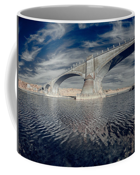 Infrared Coffee Mug featuring the photograph Bridge Curvature In Color by Greg Nyquist