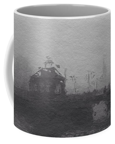 Bridge Fog Mist Misty Foggy Grey Gray Black White Expressionism Impressionism Coffee Mug featuring the painting Bridge In The Fog by Steve K