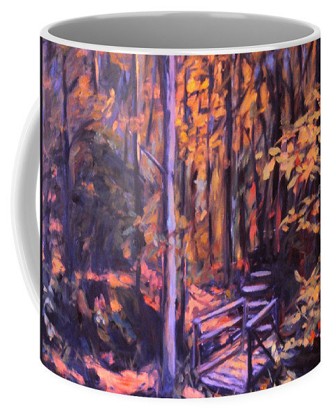 Woods Coffee Mug featuring the painting Bridge In Woods Near Pandapas by Kendall Kessler