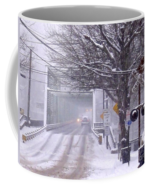 Copyright 2014 By Christopher Plummer Coffee Mug featuring the photograph Bridge Street To New Hope by Christopher Plummer