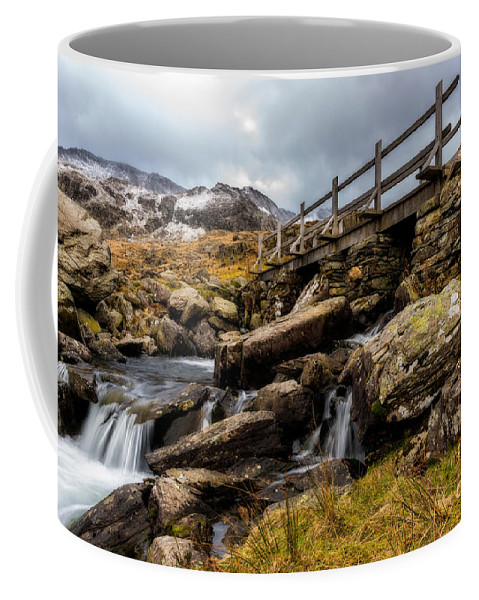 Waterfall Coffee Mug featuring the photograph Bridge To Idwal by Adrian Evans