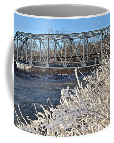 Bridge Coffee Mug featuring the photograph Bridge To Winter by Frozen in Time Fine Art Photography