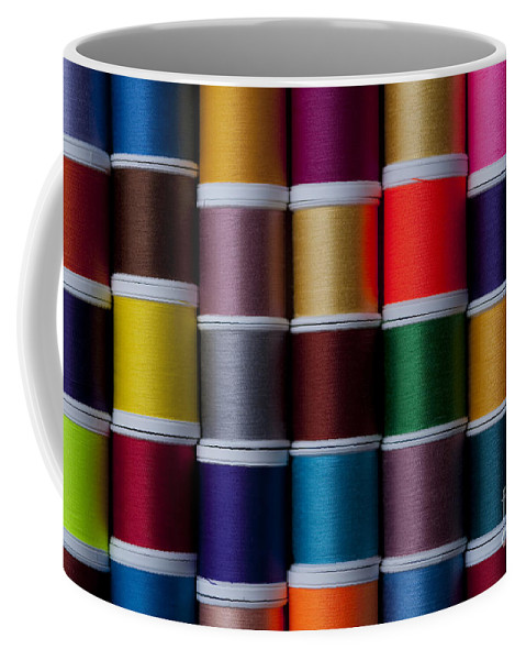 Abundance Coffee Mug featuring the photograph Bright Colored Spools Of Thread by Jim Corwin