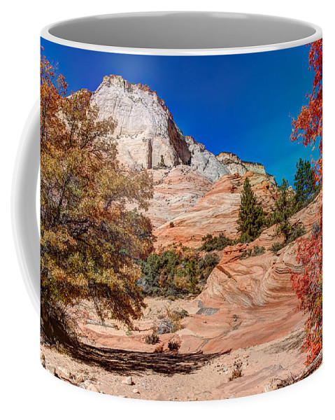 Landscape Coffee Mug featuring the photograph Bright Fall Colors At Zion by John M Bailey