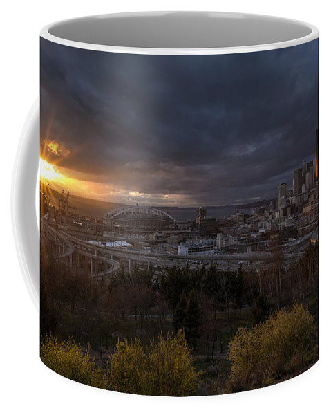 Seattle Coffee Mug featuring the photograph Bright Seattle Sunstar Dusk Skyline by Mike Reid