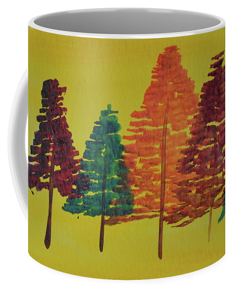 Watercolor Coffee Mug featuring the painting Bright Trees by Kimberly Maxwell Grantier