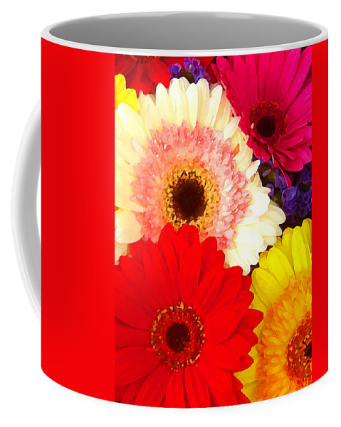 Daisies Coffee Mug featuring the painting Brightly Colored Gerbers by Amy Vangsgard