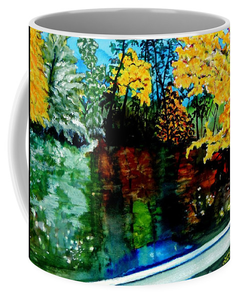 Mountains Coffee Mug featuring the painting Brilliant Mountain Colors In Reflection by Lil Taylor