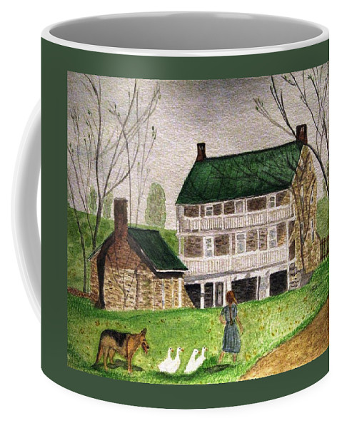 Farms Coffee Mug featuring the painting Bringing Home The Ducks by Angela Davies