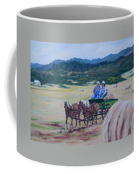 Country Landscape Coffee Mug featuring the painting Bringing In The Harvest by Donna Drake