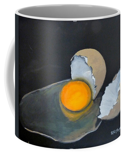 Egg Coffee Mug featuring the painting Broken Egg by Richard Le Page
