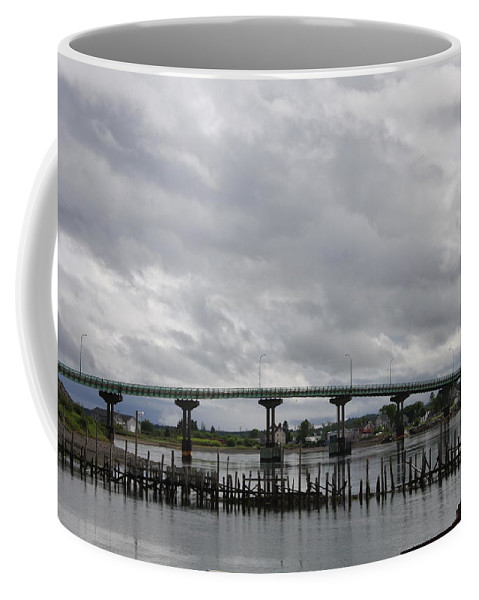 Brocken Jetty Coffee Mug featuring the photograph Broken Jetty And Franklin Roosevelt Memorial Bridge  by Christiane Schulze Art And Photography