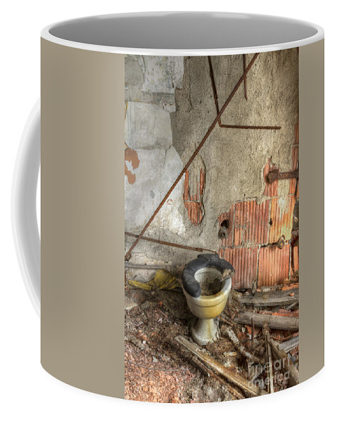 Toilet Coffee Mug featuring the photograph Broken Seat by Margie Hurwich