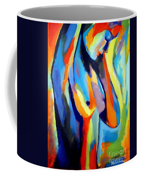 Abstract Nudes Coffee Mug featuring the painting Broken Woman by Helena Wierzbicki