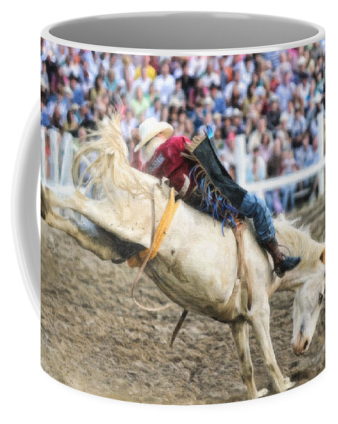 Rodeo Coffee Mug featuring the painting Bronc Rider 001 by Dean Wittle