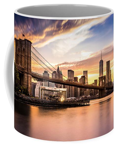 America Coffee Mug featuring the photograph Brooklyn Bridge at sunset by Mihai Andritoiu
